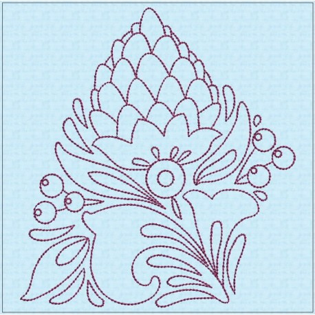 TDZ204 - Folk Art Lineart 4x4 Backstitch