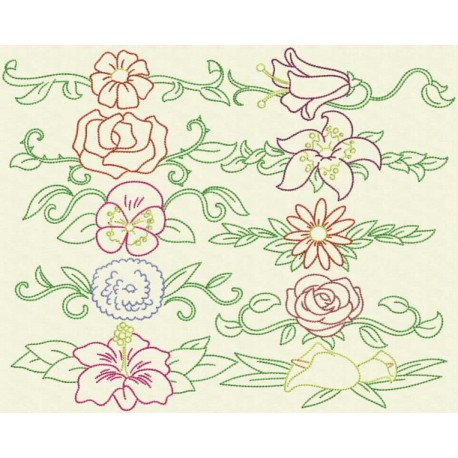 TDZ156 - Flower Borders Backstitch 6x10